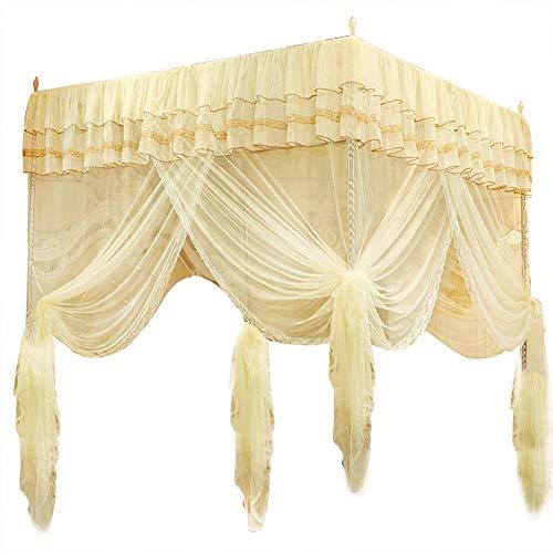 Fdit Mosquitera para cama con tres aberturas laterales, cortina de barra, color amarillo, linda princesa, decoración de dormitorio (150 x 200 x 200)