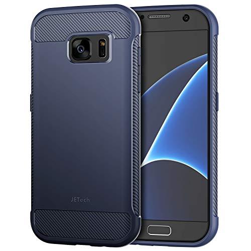 JETech Hülle für Samsung Galaxy S7 Tasche mit Stoßdämpfung & Carbon Faser (Blau)