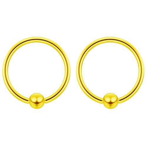 2 x 1.2mm Gold Eloxierter Chirurgenstahl Piercing Klemmkugelring Ohr Captive Bead Ring Schmuck 10mm