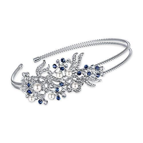 EVER FAITH® österreichischen Kristall künstliche Perle elegant Braut Haarband - blau-Silber-Ton N04447-2