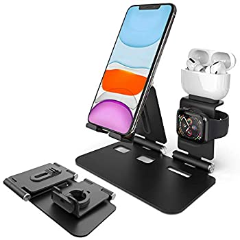 Imguradz 3 in 1 Aluminum Charging Station Compatible with iPhone Airpods Apple Watch Foldable Stand Holder Dock for iPhone Series 12/11/Xs/X Max/XR/8/7P iWatch Series 6/5/4/3/2/1  Black