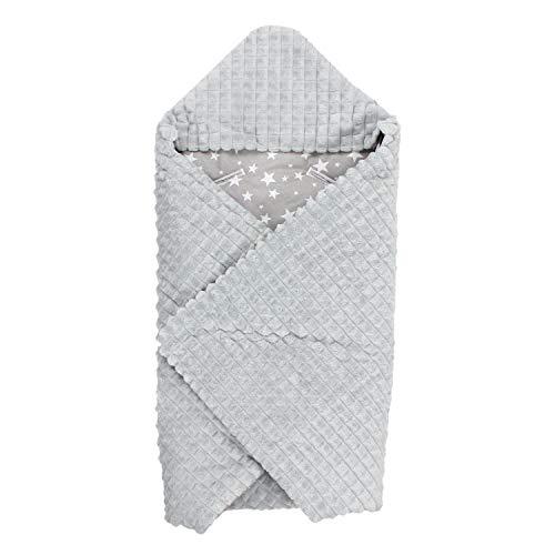TupTam Baby Einschlagdecke für Babyschale - Wattiert, Farbe: Sternchen Weiß/Grau, Größe: ca. 75 x 75 cm