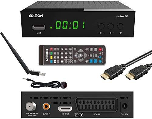 EDISION Proton S2 Full HD SAT Receiver FTA, (inkl. WLAN, IR Auge & HDMI-Kabel)