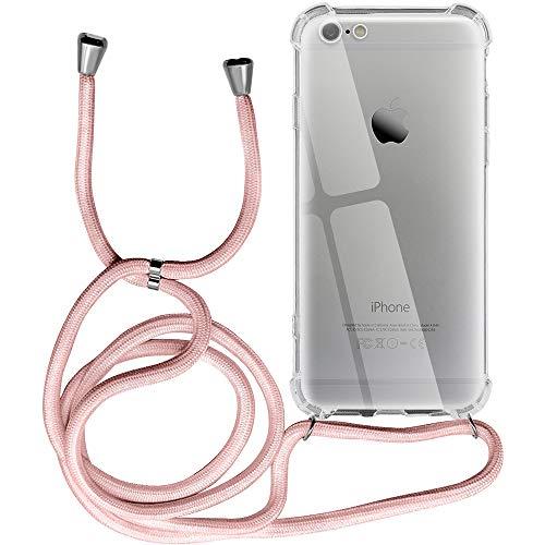Funda para iPhone 6, Transparente Silicona Carcasa con Cuerda para iPhone 6S, Suave TPU Case con Cuerda para Colgar Ajustable Anti Golpes Protector Case - Rosa de Oro