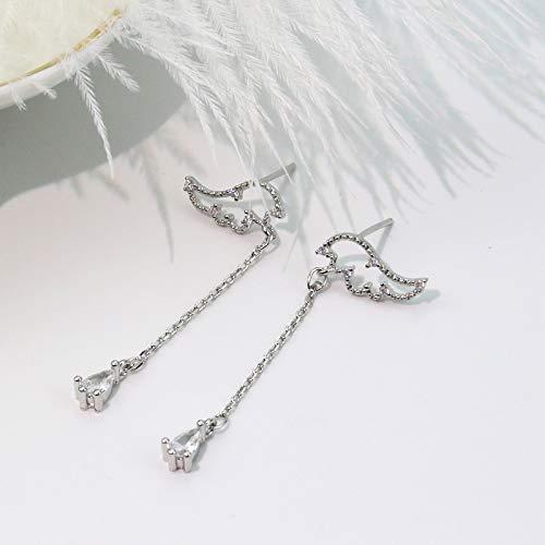 Pendientes de alas de ángel con aguja de plata 925, pendientes largos con borla, sistema Sen, pendientes finos con cara de niña super hada