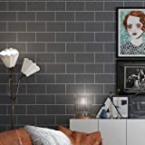 jidan Europäischer Badezimmer WC Hintergrund wasserdicht Folie Self Adhesive Vinyl Tapete Rolle for Küchen-Fliese-Wand-Dekor Kontakt Papier (Color : Rectangle Gray, Dimensions : 60cmX5m)