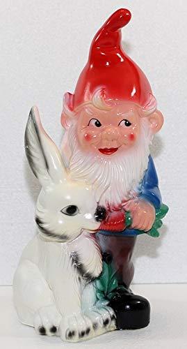 OM Gartenzwerg Deko Garten Figur Zwerg mit Hase und Bewegungsmelder Pfiff aus Kunststoff Höhe 38 cm