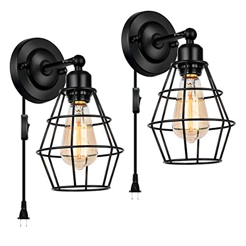 Plug in Wall Sconce Lamp, CHICLUX 2 Pack Industrial Vintage Light Metal Wire Cage Farmhouse Lighting Fixture with 5.4FT Plug-in Cord and On/Off Switch for Headboard Bedroom Nightstand Porch Bathroom