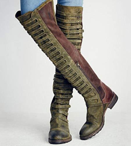 xiangqian-dongjinvxie Sneeuwlaarzen Winter warme bont gevoerde Martin laarzen Casual sneakers Wandelen combat laarzen leren schoenen SizesScrub kleur bijpassende kant rits laag vierkant met grote maat lange laarzen