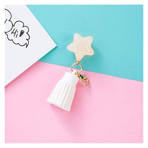 Dpsyszd Keychain DIY Candy Star Tassle Keychain Charms Women Keychains Accessories Charm (Color : White Keychain, Size : 6 cm)