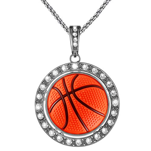 Basketball Necklace Rotating basketball Necklace Sports Necklace for Boy 23 inches