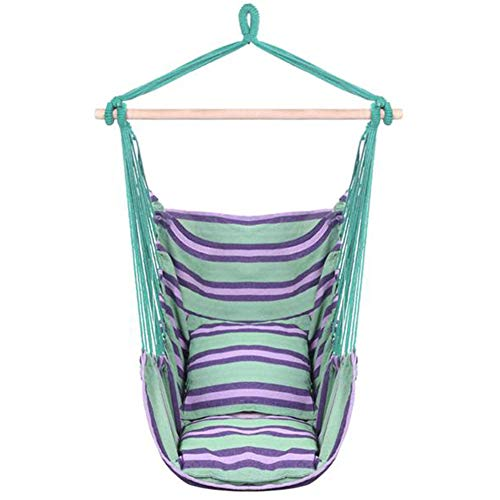 Hanging Rope Hammock Chair Swing Seat, Large Brazilian Hammock Net Chair Porch Chair for Yard, Bedroom, Patio, Porch, Indoor, Outdoor - 2 Seat Cushions Included