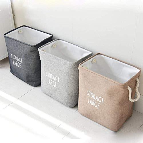Praktische Wäsche Home Hamper Bag Leinwand Kleidung Aufbewahrungskörbe Home Dirty Kleidung Fass Taschen Toy Storage Folding, Hellgrau