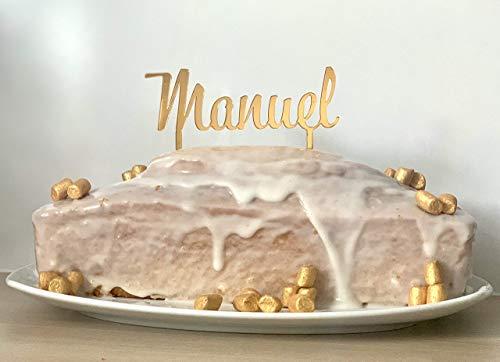 Cake topper personalisiert mit Name aus Spiegel Acrylglas gold/silber/rosegold