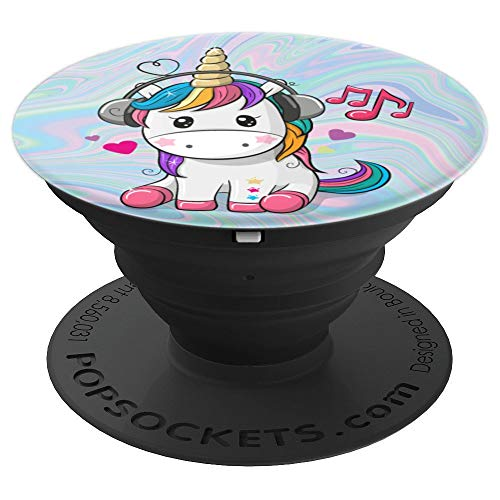 Cute Sitting Unicorn Music Headphones Unicorn Swirl PopSockets Grip and Stand for Phones and Tablets