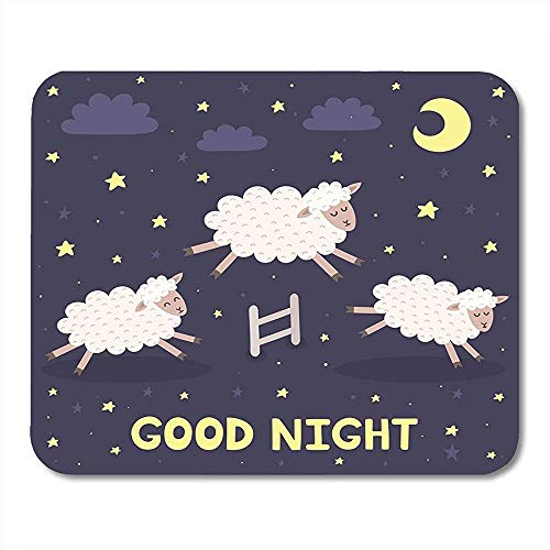 Muis Pads tellen Bagood nacht met het schaap springen over hek zoete dromen lam kinderen muismat voor notebooks muis matten - 9.4x7.8 inch
