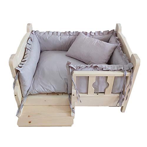 Cama del animal doméstico del gato del perro de la cama, de madera Refugio de habitaciones Perro con barandilla, uso interior y exterior lavable cama toda la temporada universal con gris claro Pp Toal