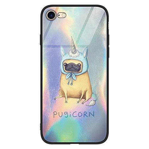 Yoedge iPhone 6 Plus Cover, [Ultra Sottile] con Modello Disegni Custodia in Vetro Temperato [Morbido TPU Bordo in Silicone] Bumper Case Protettiva per Apple iPhone 6 Plus / 6S Plus (Cane Colorato)