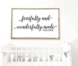 DoreenAbe Personalized Framed Wood Sign, Fearfully and Wonderfully Made - Framed Wood Nursery Decor - Psalm 139:14 - Gender Neutral Nursery Wall Art