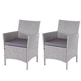 2X Chaise de Jardin en Poly rotin Halden, Chaise en Osier – Gris, Coussins Anthracite
