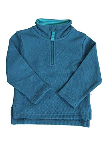 Leela Cotton Baby Kinder Troyer Bio-Baumwolle Piquestoff Sweatshirt Langarmshirt (98/104, blau - Donau)