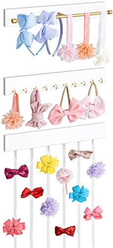 Mkono Hair Bow Holder for Girls, Hanging Bow Organizer Headband Clips Storage Rack with Golden Metal Bar and 10 Hooks, Set of 3 White Wood Bow Holders Wall Mounted Hanging Bows Organizer