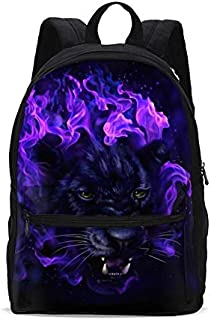 KiuLoam Panther Head in Flames Kids School Backpack 17 Inch Bookbag Teens Shoulder Travel Bag Rucksack for Boys Girls Back to School