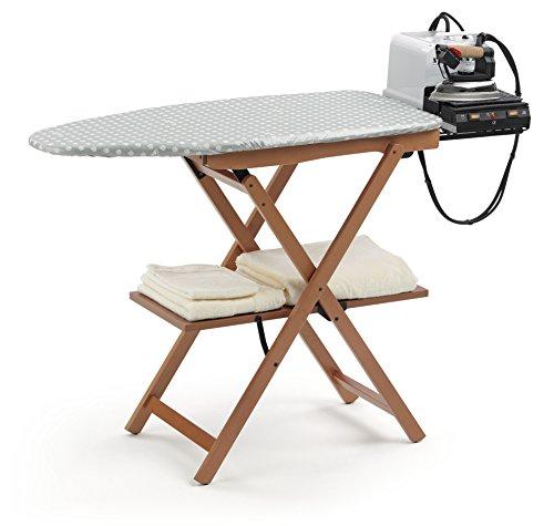 Arredamenti Italia Tabla de planchar ASTIR en madera de haya maciza - Plegable - Color: madera de cerezo , marrón, haya, textil