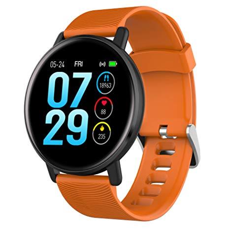 Pulsera inteligente para teléfonos Android, reloj con monitor de ritmo cardíaco de presión arterial, monitor de actividad deportiva, con podómetro impermeable, compatible con Samsung iOS (naranja)