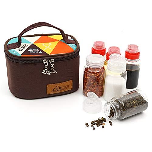 3 Piezas Tarro para Especias 3 Piezas Botella de Almacenamiento de Vinagre Aceite - Botes de Condimento con Bolsa Portátil Ideal para Camping/Picnic/Viaje/Al Aire Libre/Cocina