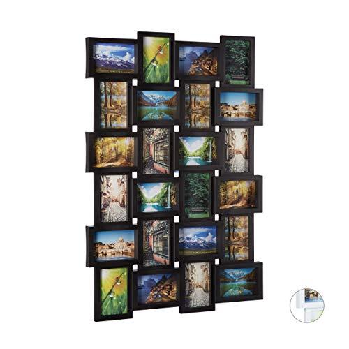 Relaxdays Bilderrahmen, Collage für 24 Bilder, 10x15 cm, Hoch- & Querformat, Fotorahmen Wand, H x B: 59 x 86 cm, schwarz