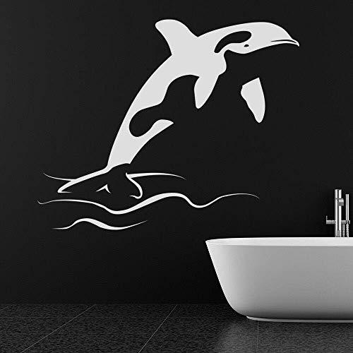 Tatuajes De Pared Orca Mar Criaturas Acuáticas Océano Animal Niños Dormitorio Cuarto De Bebé Cuarto De Baño Decoración Para El Hogar Vinilo Ventana Pegatinas 57 * 70 Cm