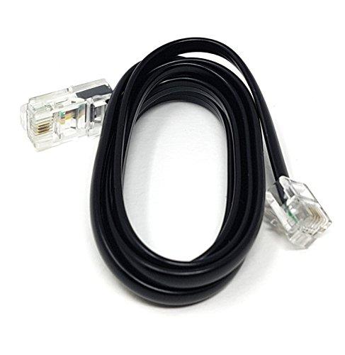 MainCore Langes Flachkabel RJ11 auf RJ45, 4-adrig, ADSL-Modem, Breitband-Datenkabel (erhältlich in 1 m, 2 m, 3 m, 5 m, 10 m), schwarz 1m Schwarz