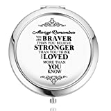 UOIPENGYI Always Remember You are Braver Stronger Smarter Than You Think Inspirational Pocket Compact Mirrror Travel Mirrors for Daughter Granddaughter (Always Remember)