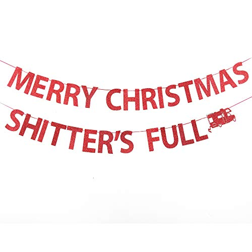 Merry Christmas Shitters Full Banner, Ugly Christmas Sweater Party Banner, Christmas Vacation Party Decorations Banner, Griswold Funny Christmas Holiday Party Decorations, Xmas Decoration