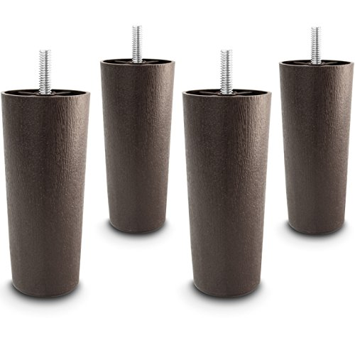 Choice Parts - 5 Inch Dark Walnut Plastic Tapered Sofa Legs, Set of 4