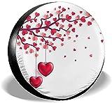 Valentines Day Love Heart Trees Cubierta de neumático de repuesto,poliéster Universal 14 pulgadas Cubierta de neumático de repuesto para remolque,RV,SUV,camión,camión,autocaravana,accesorios de remol