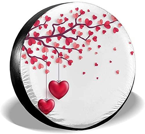 Cubierta de neumático de repuesto de árboles de corazón de amor del día de San Valentín,poliéster,universal,de 17 pulgadas,cubierta de neumático de repuesto para remolque,RV,SUV,camión,camión,camper,