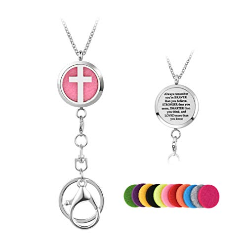 LuxglitterLin Religious Cross Aromatherapy Essential Oil Diffuser with Lanyard Necklace for ID Badge Holder Keychains Stainless Steel Chain 12 Refill Pads