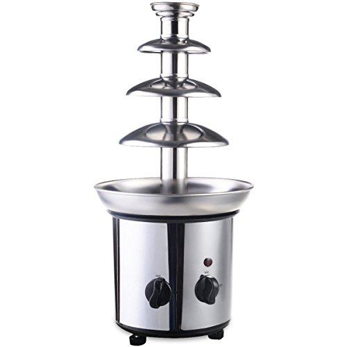 expert store 4 Tiers Commercial Stainless Steel Hot Luxury Chocolate Fondue Fountain New, 20'' 5'' 5'', Sliver