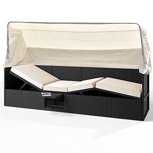 Deuba Polyrattan Sonnenliege 200x60cm Outdoor mit Faltbarem Sonnendach Klapptisch 5-Fach Verstellbar 7cm Auflage Schwarz