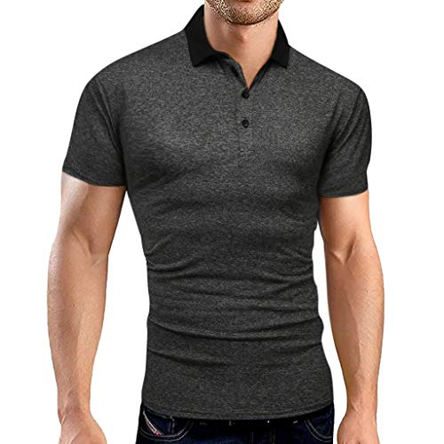 serliy Herren Poloshirt Kurzarm,Sommer T-Shirt Men's Polo Shirt Baumwolle Herren Mode Solid Business Turn-Down Kragen Kurzarm Shirt Bluse
