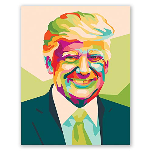 Donald Trump Poster - Colorful Geometric Portrait - Living Room Home Decor - Modern Vector Art - Birthday Gift Men Women (11x14)