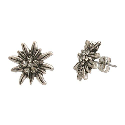 Trachten Ohrringe Ohrstecker Strass-Edelweiß mini - Damen Trachtenohrringe mit Kristallstein zur Trachtenbluse,Edelweiss Dirndl-Schmuck mit klaren Strass-Steinen zum Oktoberfest (antik-silber-farben)