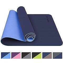 TOPLUS Gymnastiekmat, Yoga Mat Yoga Mat Padded & Non-Slip for Fitness Pilates & Gymnastiek met Strap - Afmetingen 183cm Lengte 61cm Breedte - Blauw*