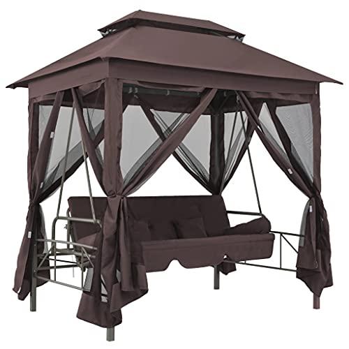 SANON Porch Swings Patio Chairs Gazebo Convertible Swing Bench Coffee
