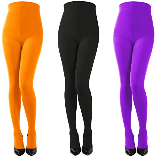 3 Pairs Halloween Striped Tights Full Length Tights Stockings for Women Girls (Style 2)