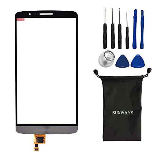 Sunways Touch Digitizer (not Display Screen) Screen Replacement for LG Optimus G3 D850 D855 D851 LS990 VS985 with Device Opening Tools(Gray)