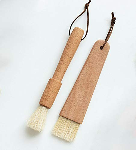 VSILE 2 Pack Pastry Brushes with Natural Wood and Bristles,Baking Brushes,Cooking Brushes,Food Brushes,Round and Flat.