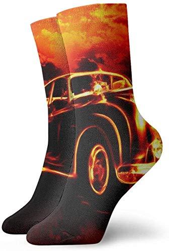Cool Flame Retro Truck Calcetines cortos de algodón para hombre y mujer, para yoga, senderismo, ciclismo, correr, fútbol